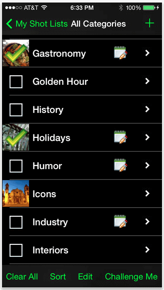 My Shot Lists for Travel - iPhone App for Photographers