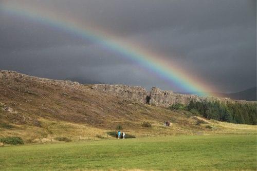 Iceland Rainbow over Thingvellir National Park