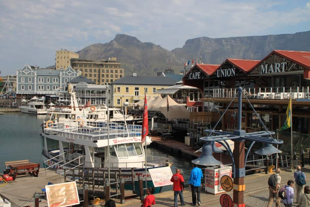 Harbor view of V&A waterfront in Cape Town, South Africa