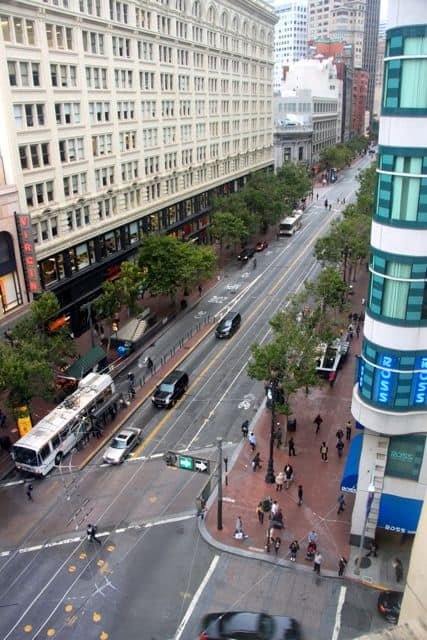 Market Street view from Kimpton's Hotel Palomar - San Francisco California