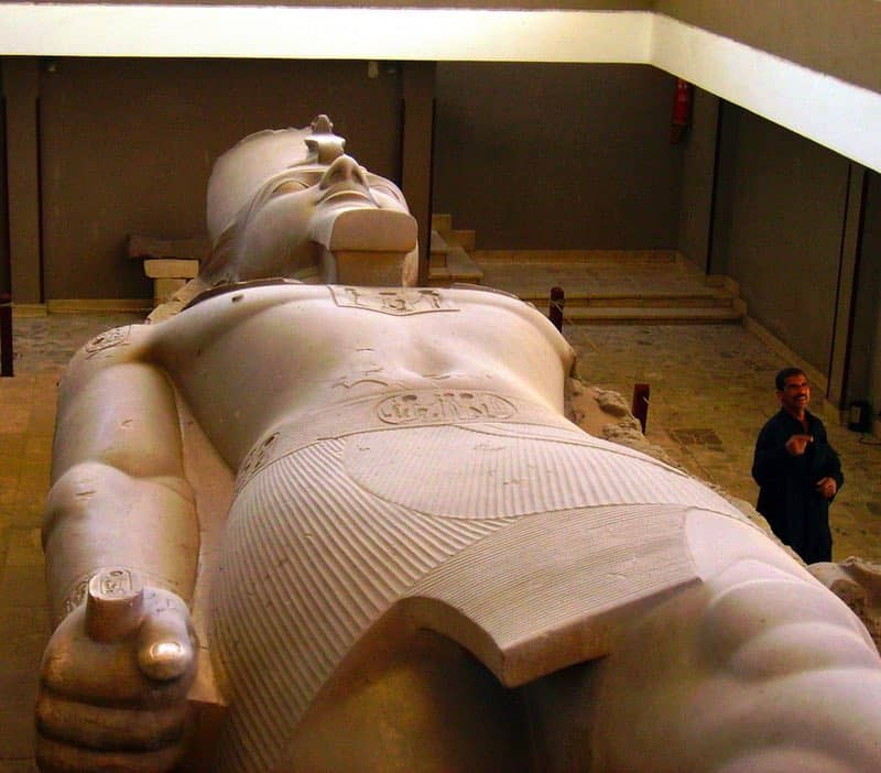 The enormous carving of Rameses II is viewed at a museum that was built around the treasure