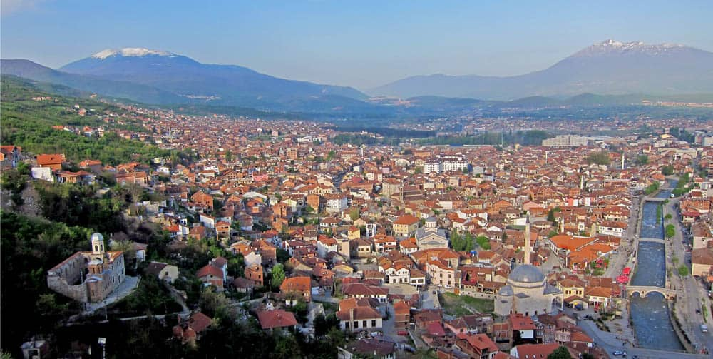 A beautiful, birds-eye-view of the historic city of Prizren in Kosovo.