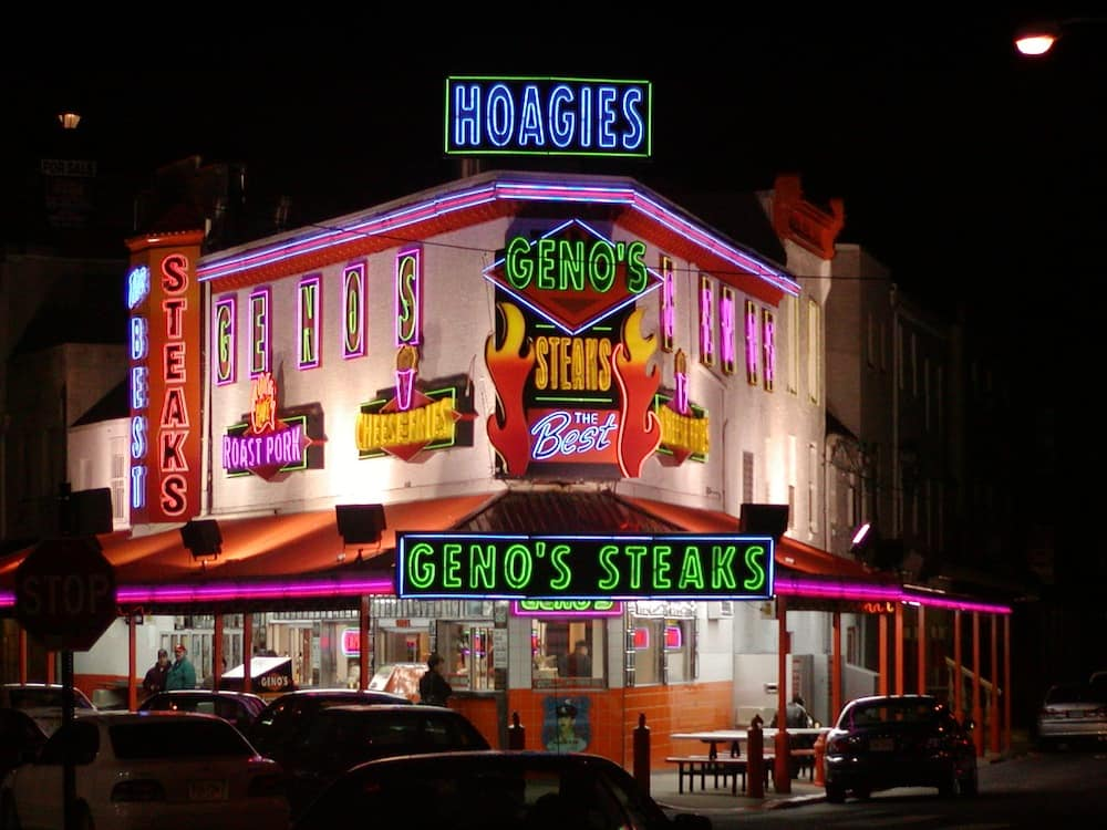 Neon lights highlight Gino's restaurant, made famous by their cheesesteak sandwiches