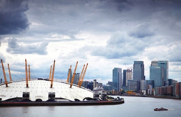 the O2 dome is featured prominently against the London Skyline
