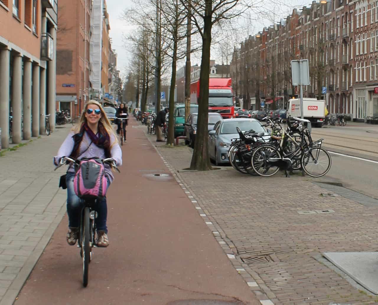 My friend Toni, loving the freedom of biking in Amsterdam