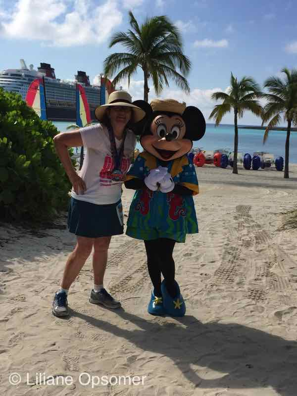 With Minnie after 5K on Castaway Cay - The Disney Dream - Fabulous Food, Fun Times, and Great Comfort