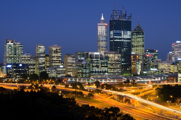 The view of Perth CBD at night