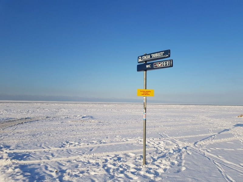 Frozen Gulf of Riga in the City of Jurmala