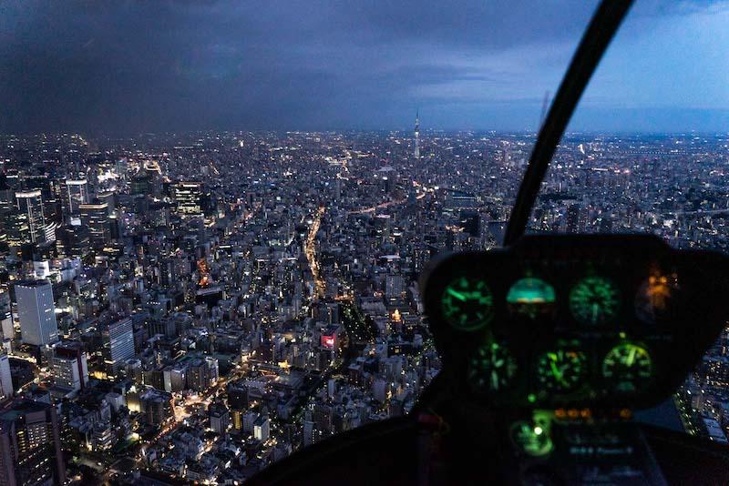 Bir helikopterden Tokyo