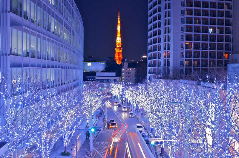 Roppongi aydınlatma Tokyo kule Noel