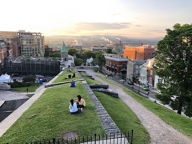 Sunset atop a section of the wall surrounding the Old City of Quebec