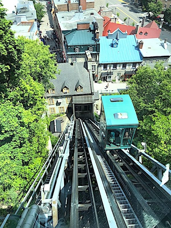 The Funiculaire du Vieux-Québec that transports visitors between the Upper and Lower Towns of Old Quebec