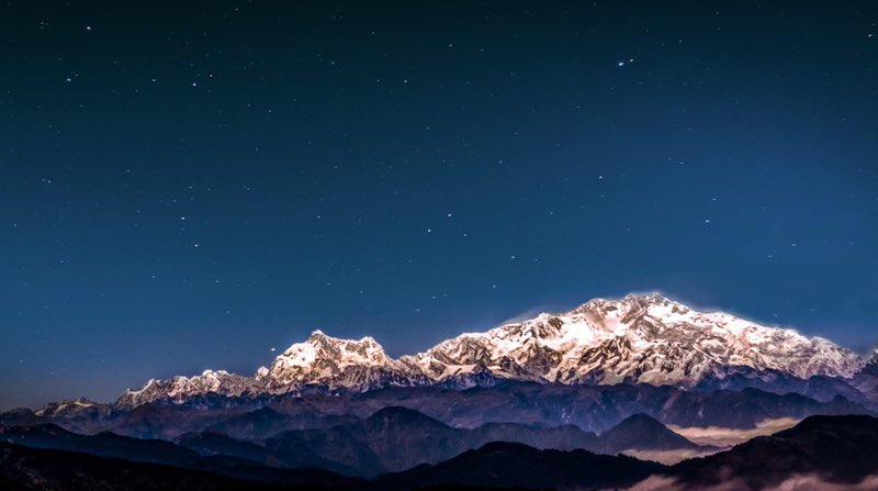 View of the Kanchenjunga Peaks from Dzongri campsite