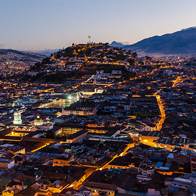 Quito's colonial sector at night